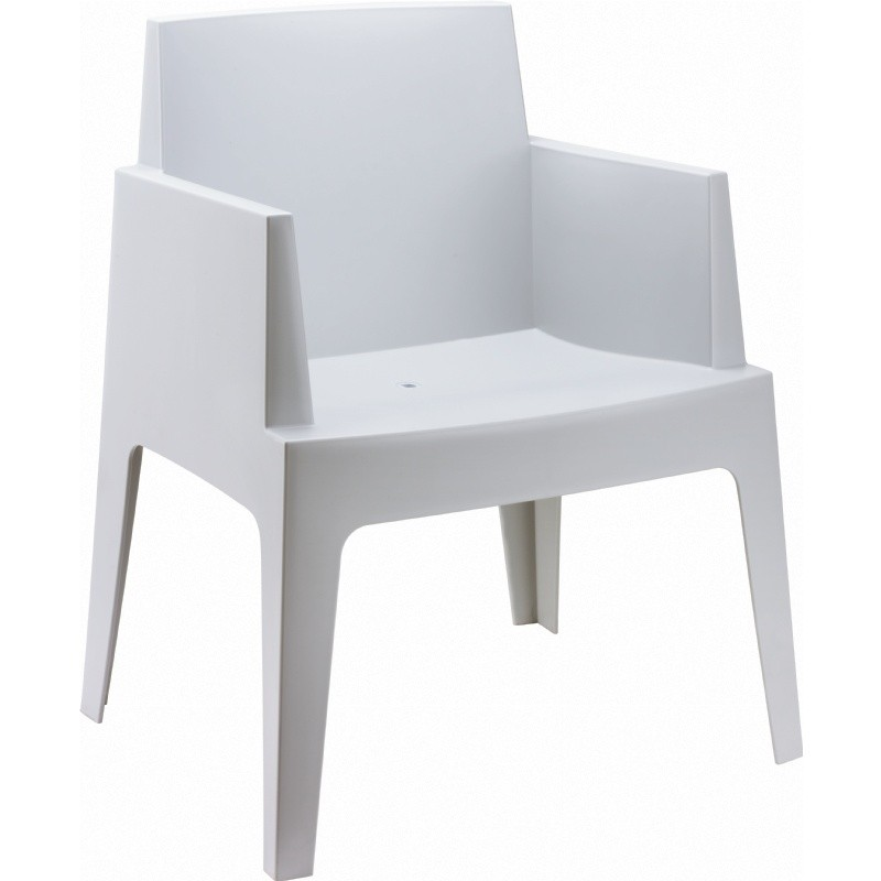 Outdoor Furniture: Resin: Box Outdoor Dining Chair Silver Grey