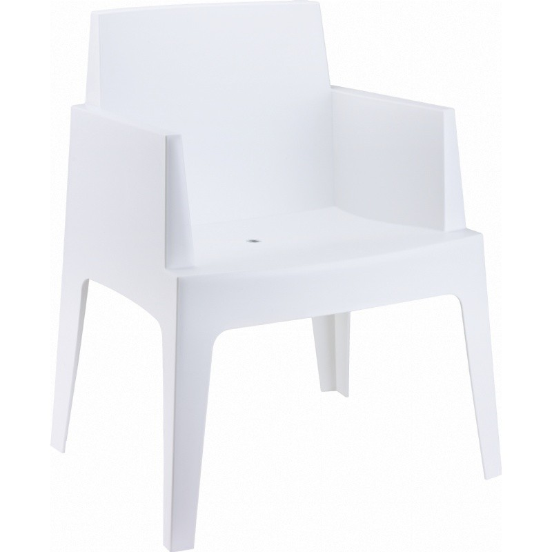 Outdoor Furniture: Resin: Box Outdoor Dining Chair White