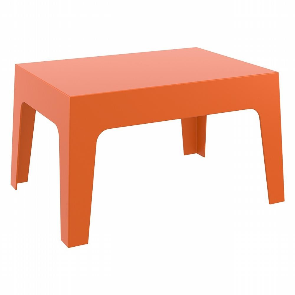 Box resin outdoor coffee table orange isp064 cozydays for Orange outdoor side table