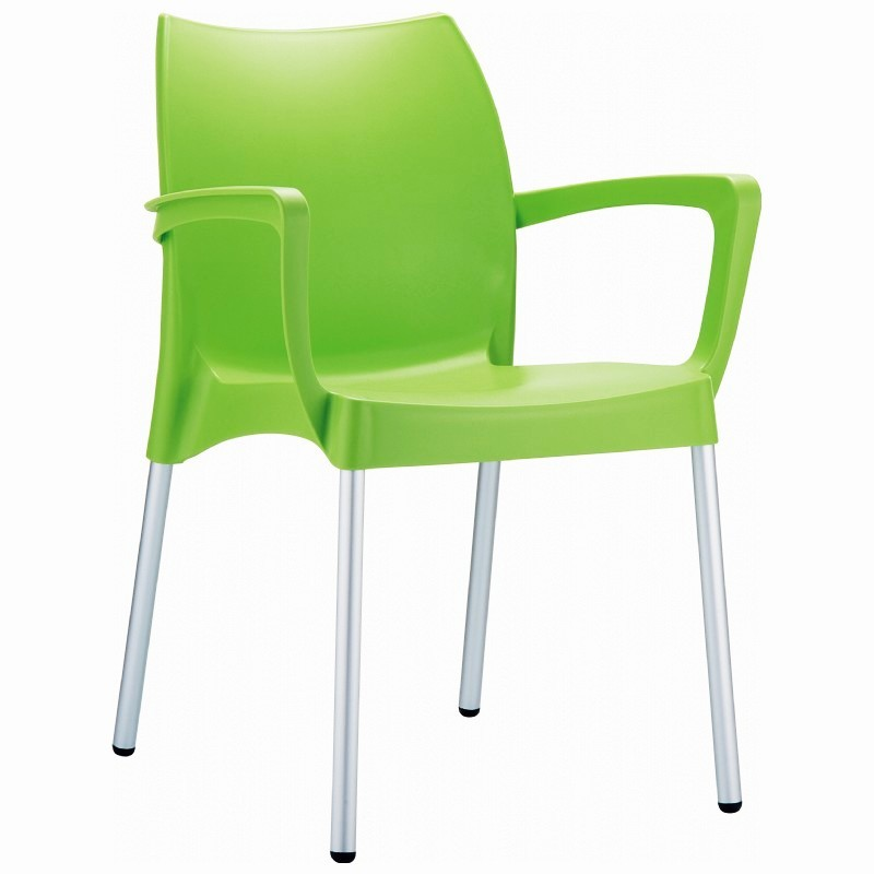 Dolce Plastic Arm Chair Green