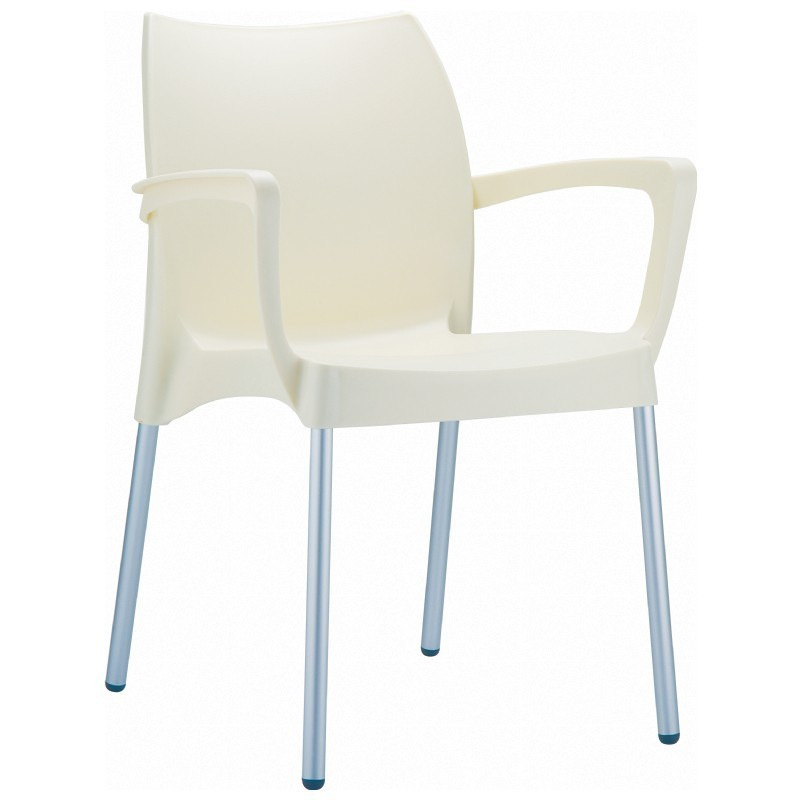 Dolce Plastic Arm Chair Beige