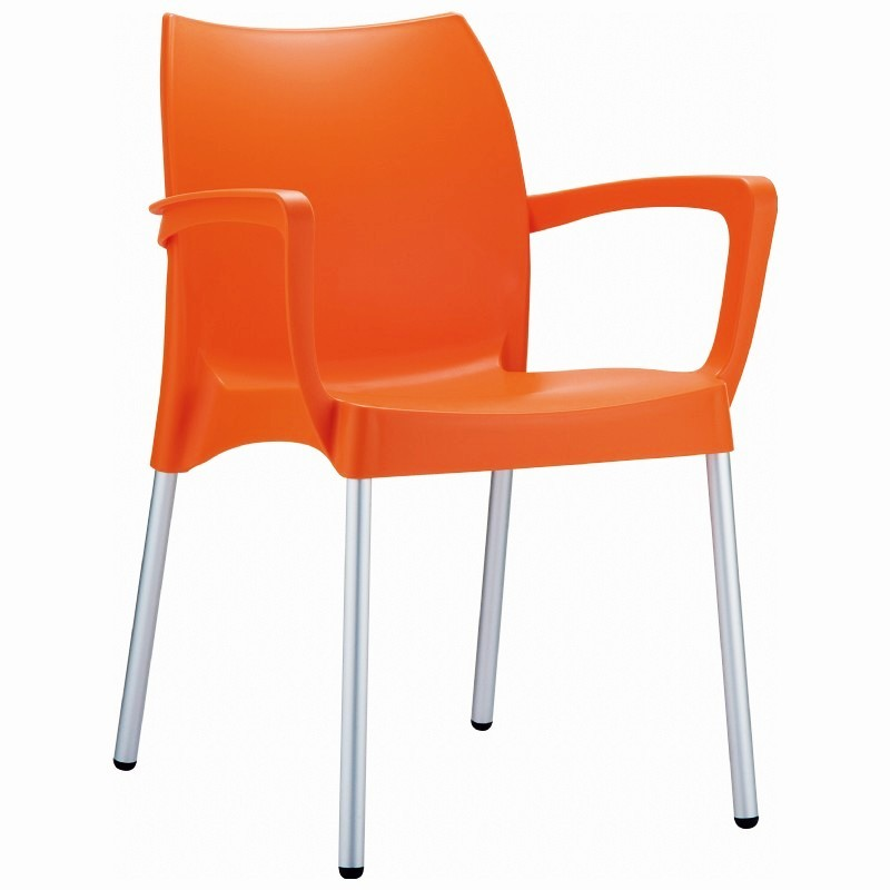 Dolce Stackable Resin Outdoor Restaurant Dining Chair Orange ISP047 Outdoor