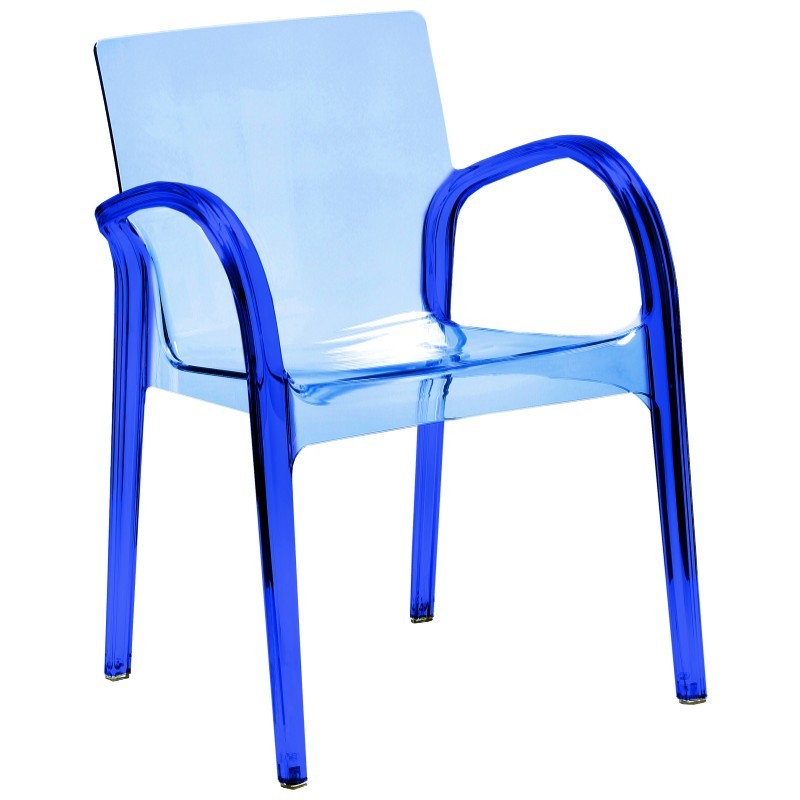 dejavu clear plastic arm chair blue isp032