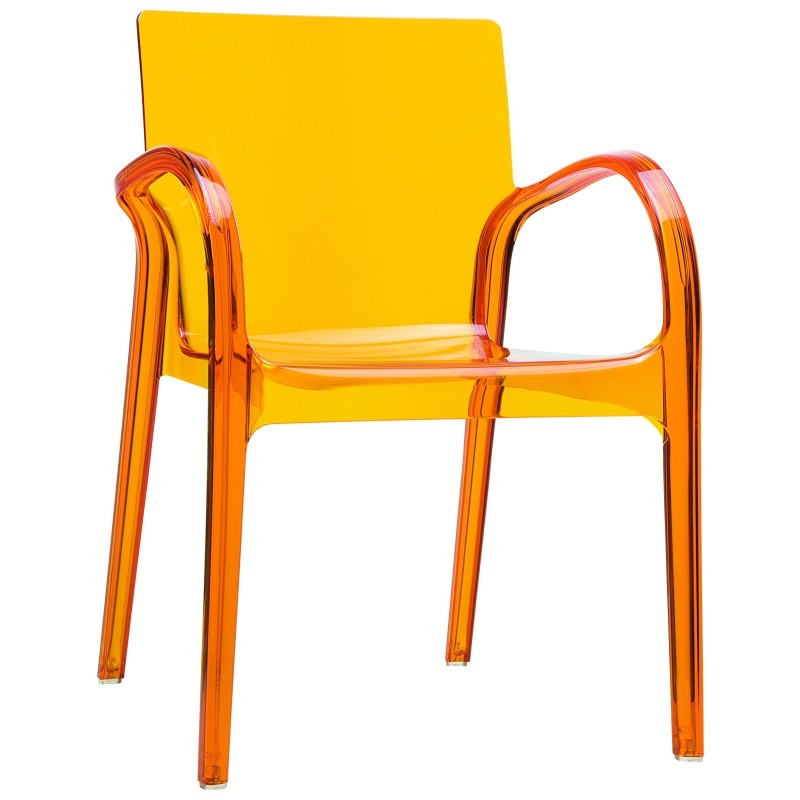 Dejavu Clear Plastic Outdoor Arm Chair Orange