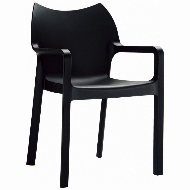 Diva Resin Outdoor Dining Arm Chair Black : Patio Chairs