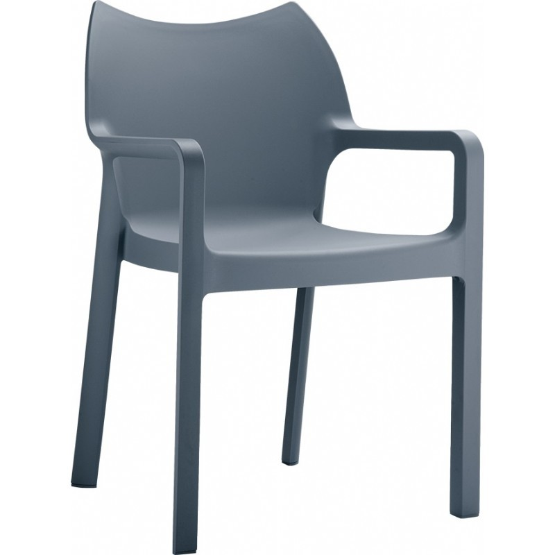 Diva Resin Outdoor Dining Arm Chair Dark Grey