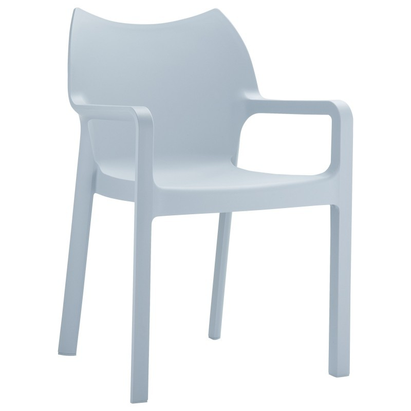 Diva Resin Outdoor Dining Arm Chair Gray