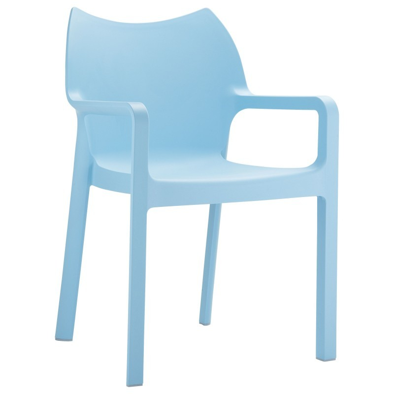 Outdoor Furniture: Resin: Diva Resin Outdoor Dining Arm Chair Light Blue