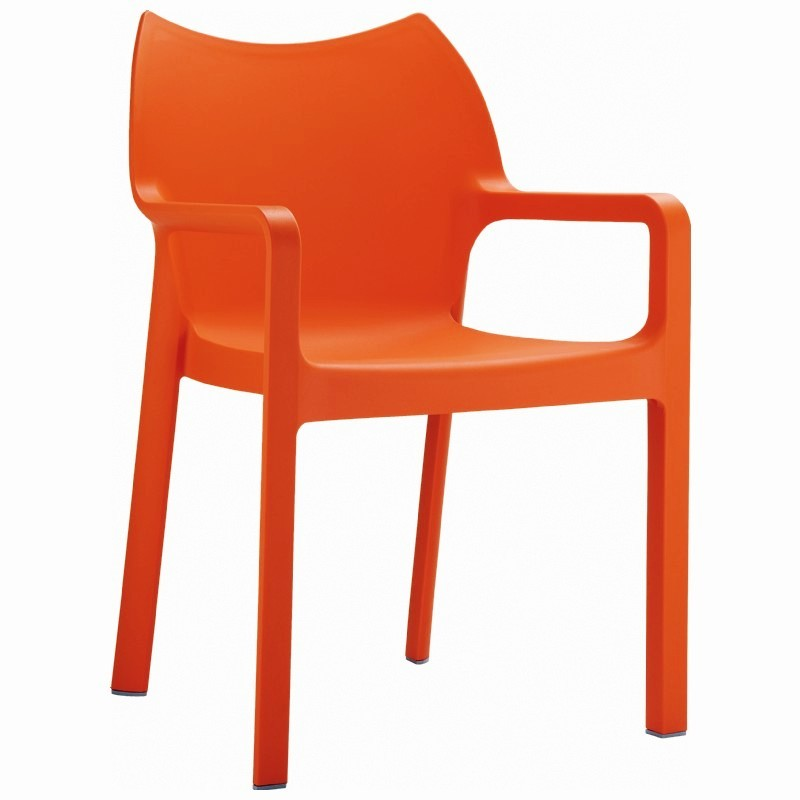 Outdoor Furniture: Resin: Diva Resin Outdoor Dining Arm Chair Orange
