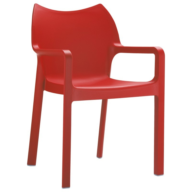 Outdoor Furniture: Resin: Diva Resin Outdoor Dining Arm Chair Red