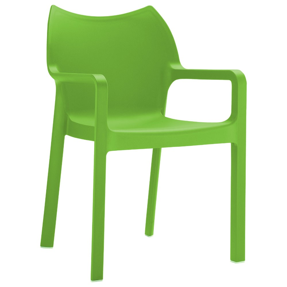 Outdoor Furniture: Resin: Diva Resin Outdoor Dining Arm Chair Tropical Green