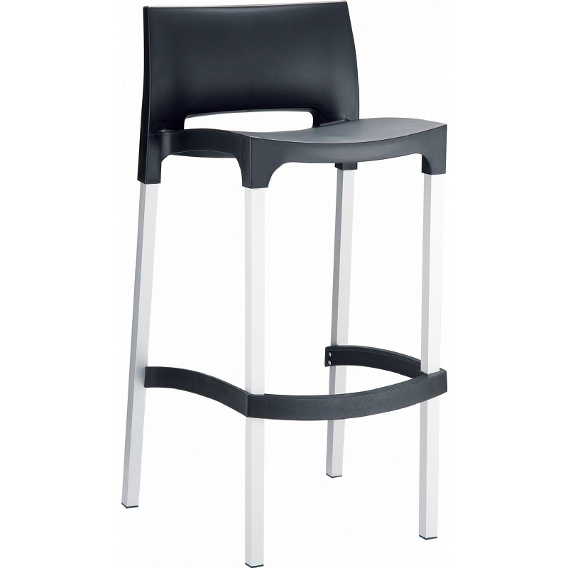 Gio Resin Outdoor Barstool Black
