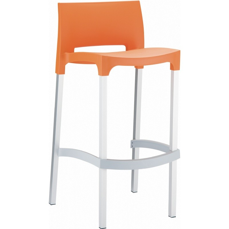 Gio Resin Outdoor Barstool Orange