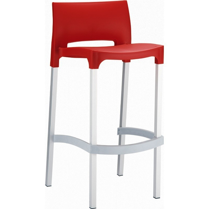 Gio Resin Outdoor Barstool Red