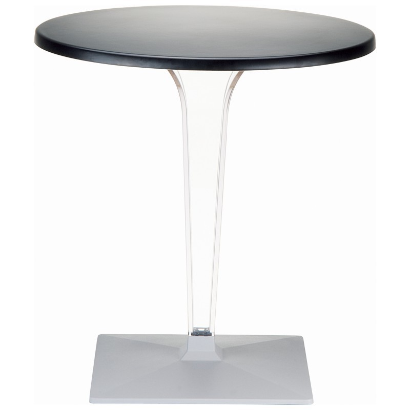Ice Round Dining Table Black Top 24 inch.