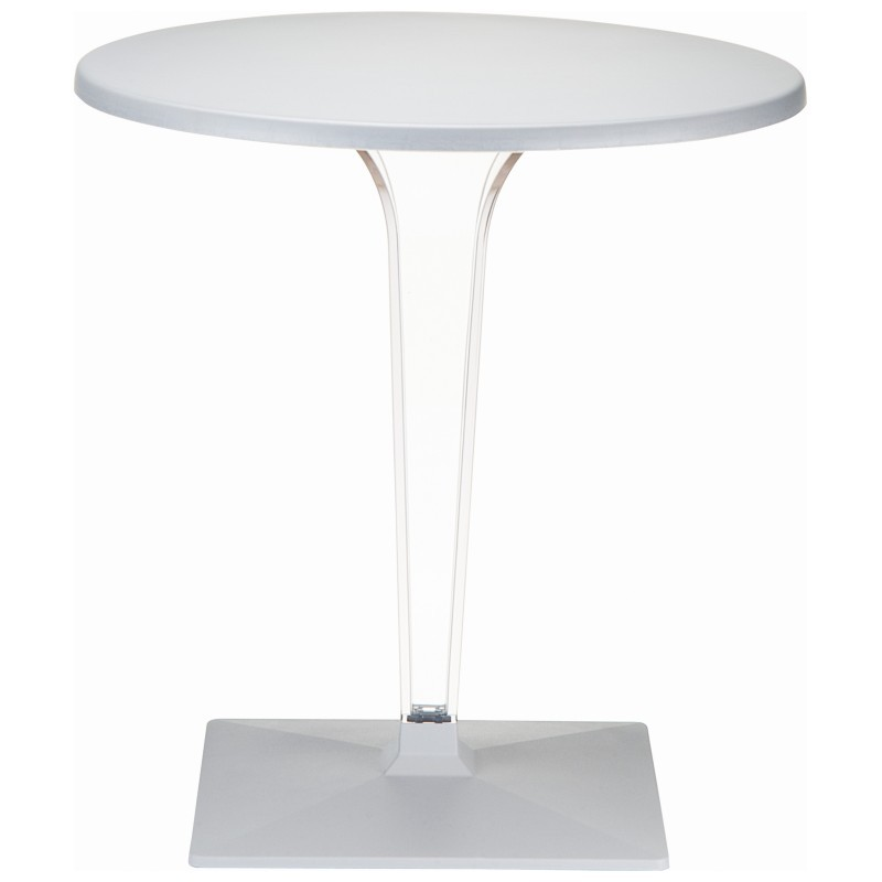 Ice Round Dining Table Silver Gray Top 31.5 inch.