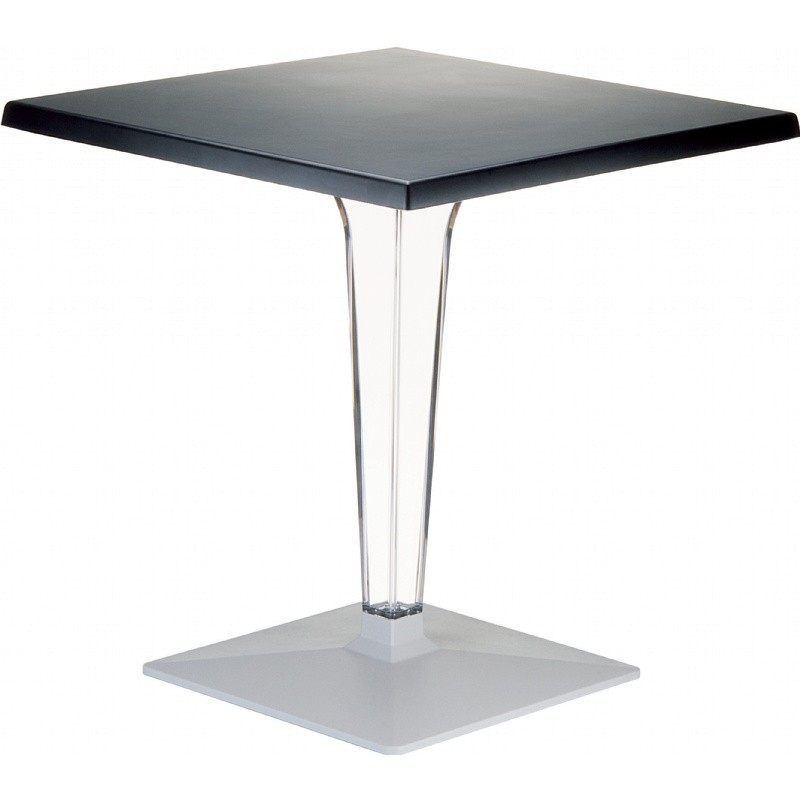 Ice Square Dining Table Black Top 24 inch.