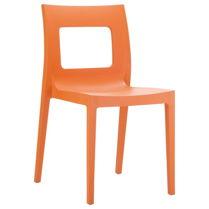 Lucca Resin Stackable Outdoor Restaurant Dining Chair Orange