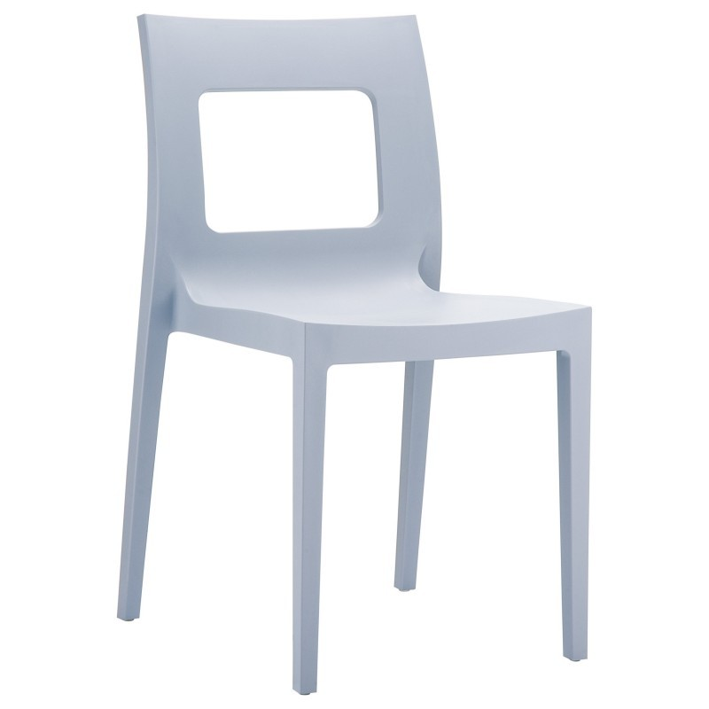 Lucca Resin Stackable Outdoor Restaurant Dining Chair Silver Grey