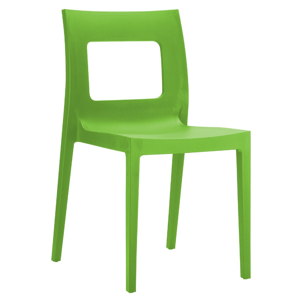 Lucca Resin Stackable Outdoor Restaurant Dining Chair Tropical Green