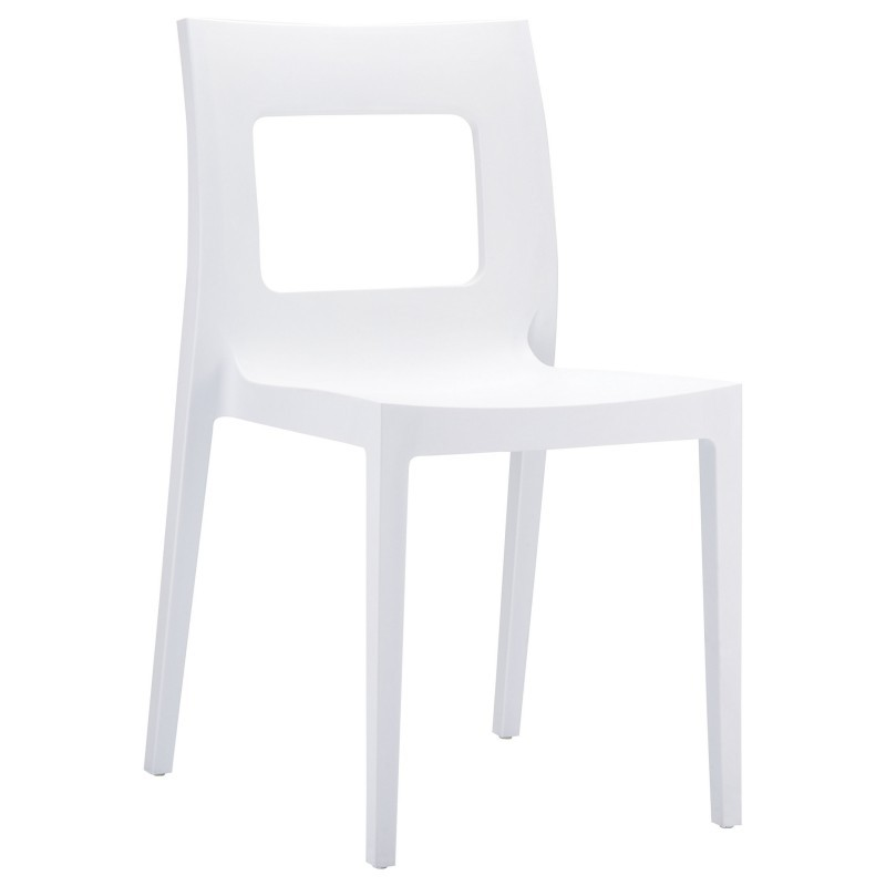 Outdoor White Stackable Plastic Chairs: Siesta Lucca Stacking Outdoor Dining Chair White