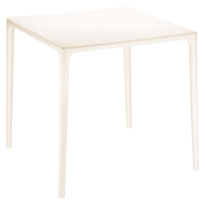 Plastic Dining Tables: Siesta Mango 28 inch Square Plastic Dining Table Beige