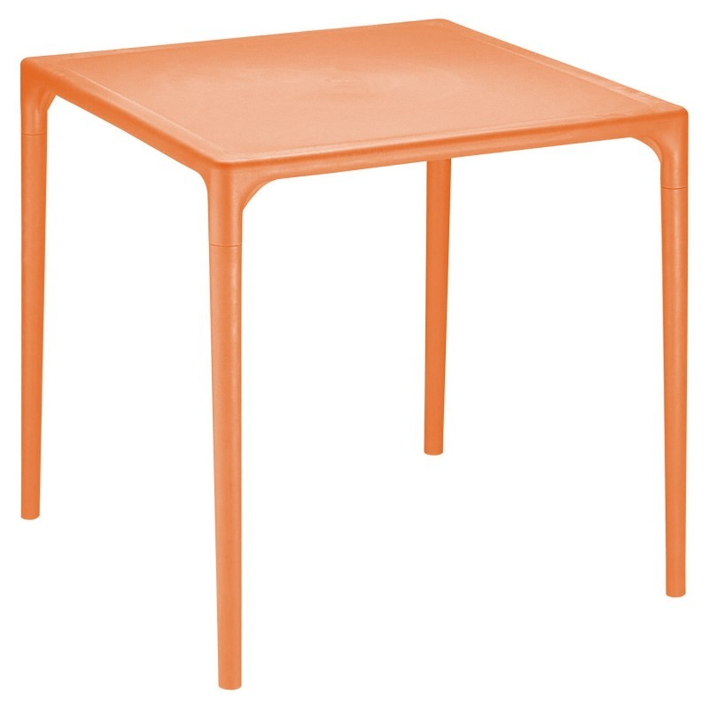Siesta Mango 28 inch Square Plastic Dining Table Orange