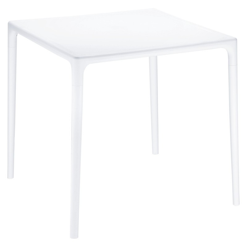 Siesta Mango 28 inch Square Plastic Dining Table White