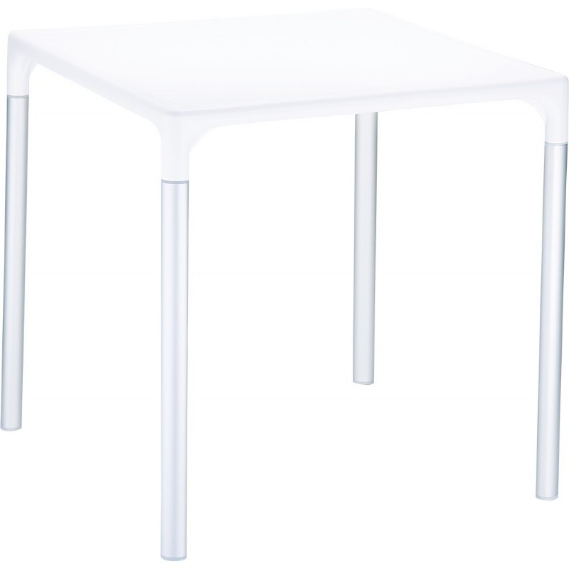"Mango Alu Square Outdoor Dining Table 28"" White"