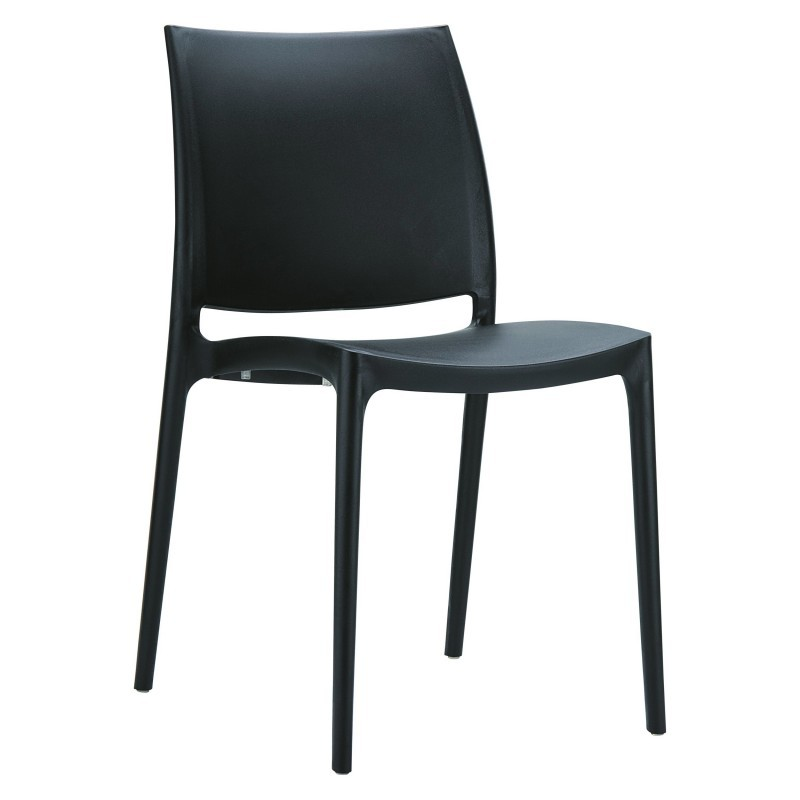 Maya Resin Stacking Outdoor Restaurant Dining Chair Black