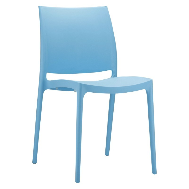 Maya Resin Stacking Outdoor Restaurant Dining Chair Blue