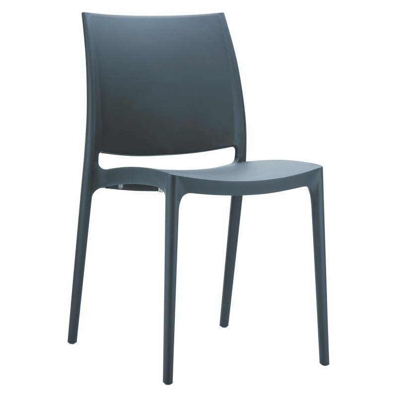 Maya Commercial Resin Outdoor Dining Chair Dark Gray