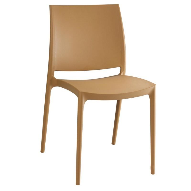 Maya Stacking Outdoor Chair Latte