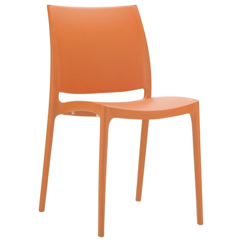 Maya Commercial Resin Outdoor Dining Chair Orange