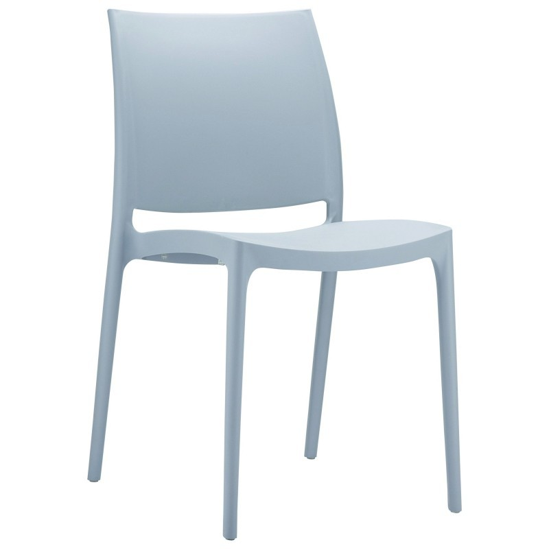 Maya Commercial Resin Outdoor Dining Chair Silver