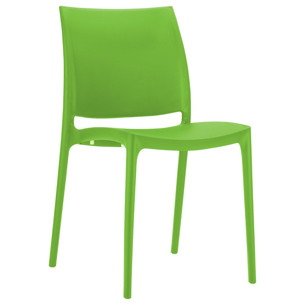 Maya Resin Stacking Outdoor Restaurant Dining Chair Tropical Green