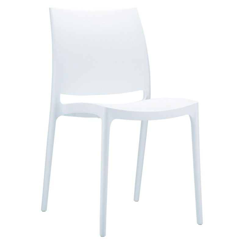 Maya Resin Stacking Outdoor Restaurant Dining Chair White