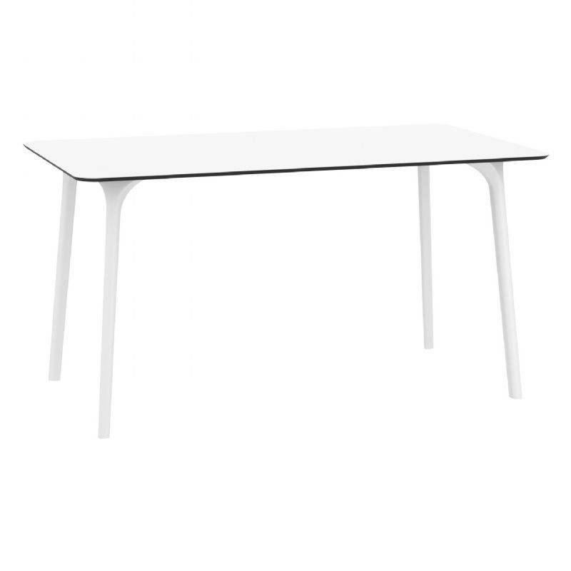 Maya Rectangle Outdoor Dining Table 55 Inch White ISP690 CozyDays