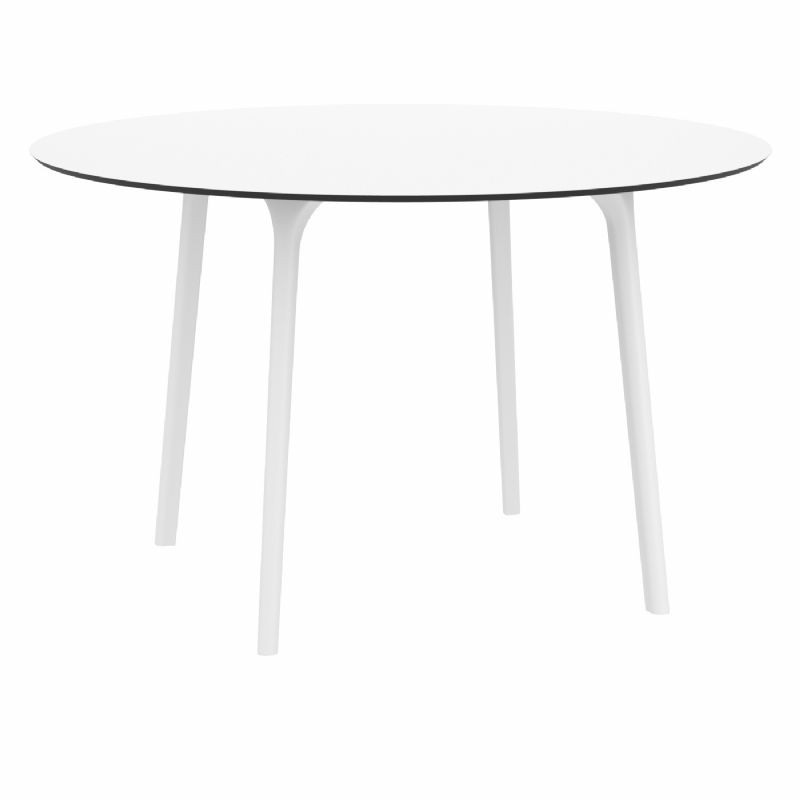 Maya Round Outdoor Dining Table 47 Inch White ISP675 CozyDays
