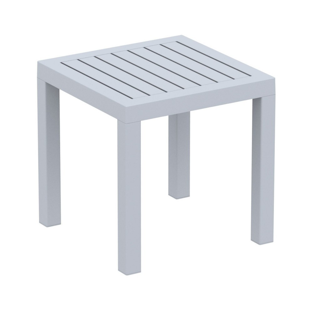 Ocean Square Resin Outdoor Side Table Silver Gray