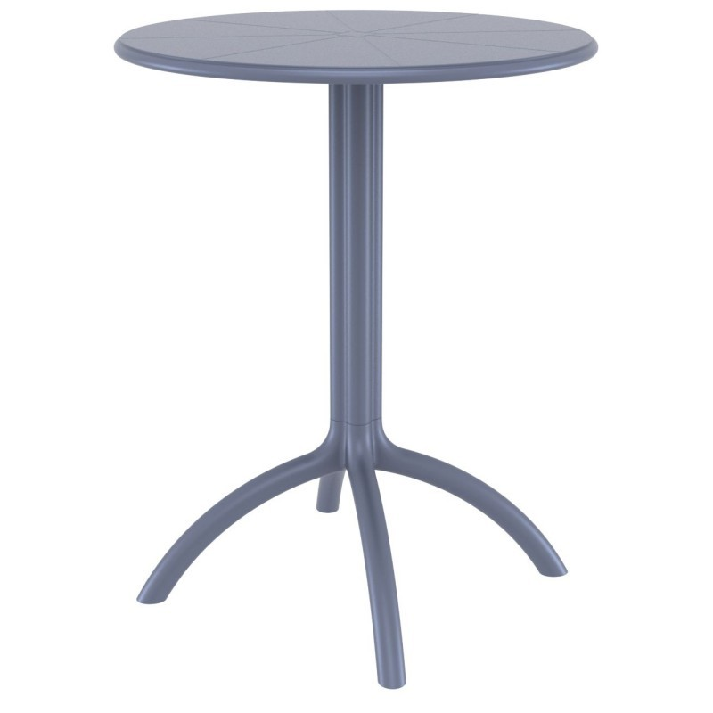 Octopus Resin Outdoor Dining Table 24 inch Round Dark Gray
