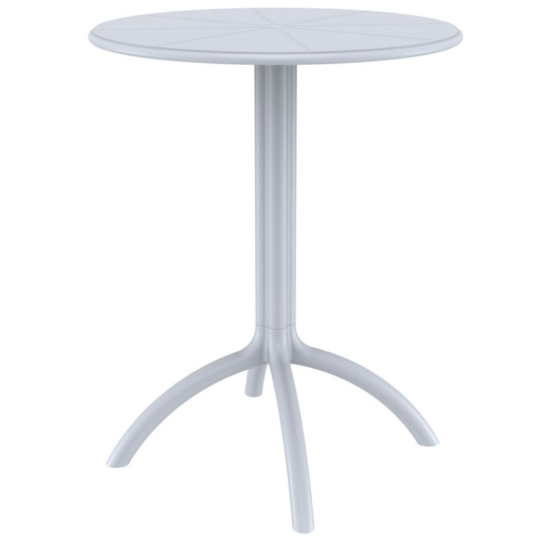 Octopus Resin Outdoor Dining Table 24 inch Round Silver Gray