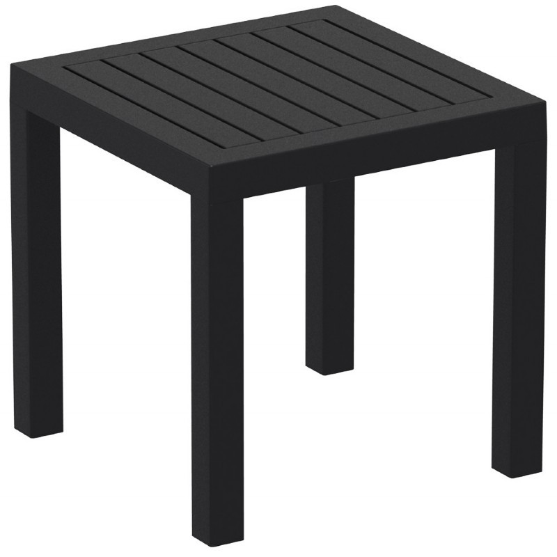ocean square resin outdoor side table black. Black Bedroom Furniture Sets. Home Design Ideas