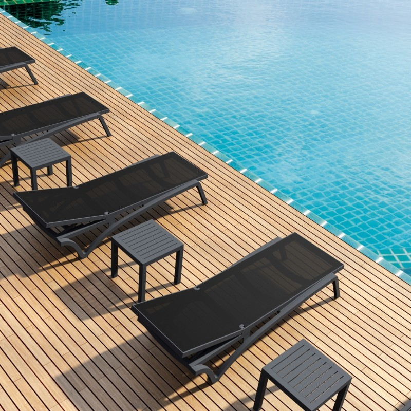 Pacific 3-pc Stacking Chaise Lounge Set Black - Black