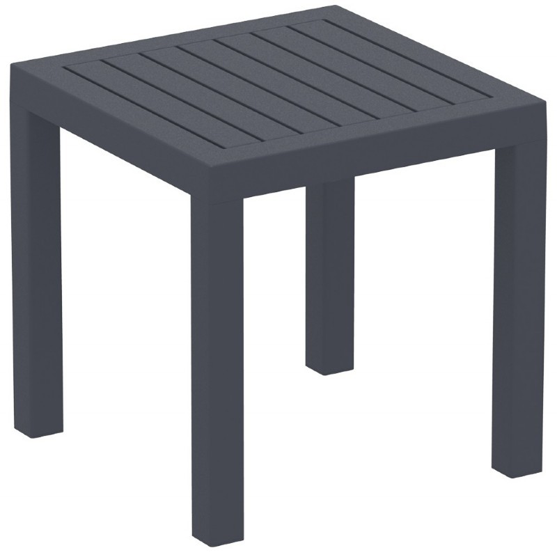 Ocean Square Resin Outdoor Side Table Dark Gray