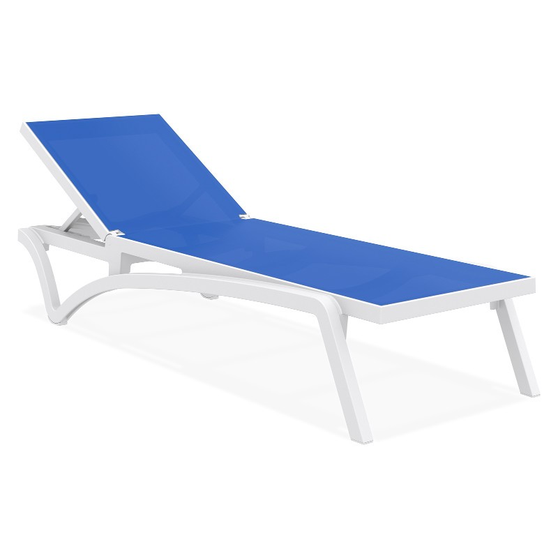 Pacific stacking sling chaise lounge white blue isp089 for Blue sling chaise lounge