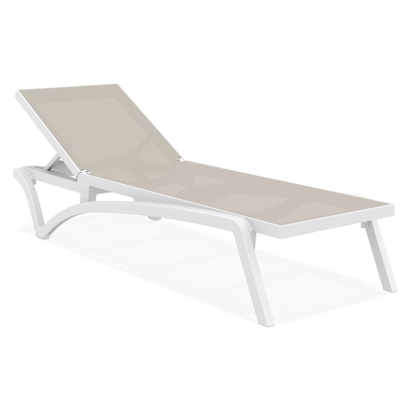 Pacific Stacking Sling Chaise Lounge White - Dove Grey