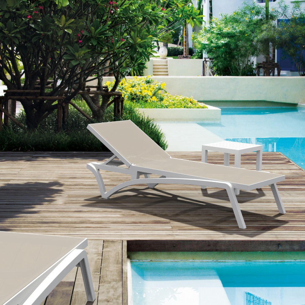 Deal of the Day: Pacific 3-pc Stacking Chaise Lounge Set White - Dove Gray