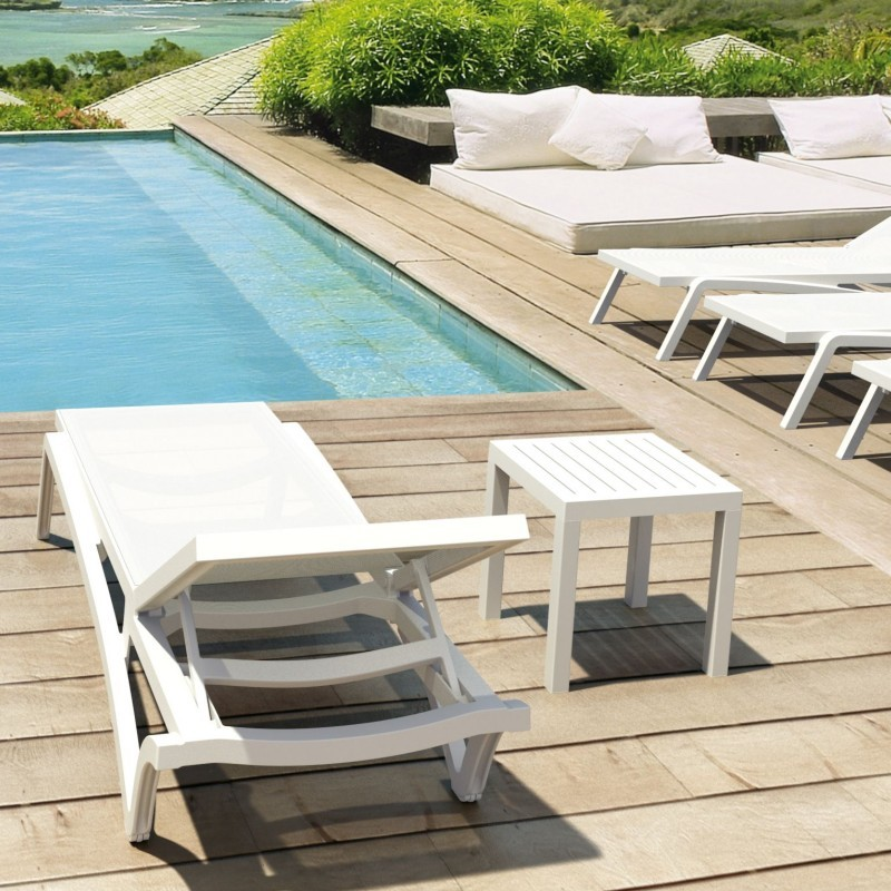 Pacific Stacking Sling Chaise Lounge White - White