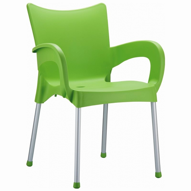 Outdoor Furniture: Plastic Outdoor Chairs: RJ Resin Outdoor Arm Chair Apple Green